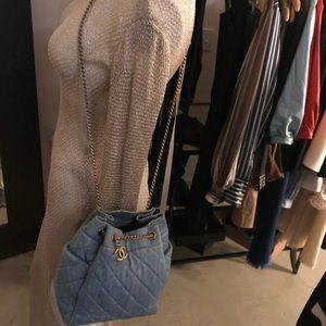 Auth CHANEL Distressed Denim Drawstring Bag
